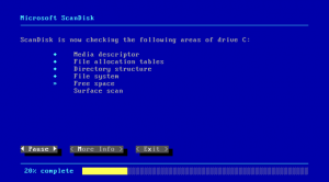 Scandisk runs to make sure the hard drive is in proper working condition