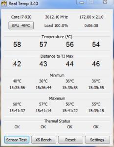 Core Temps @ 3.6Ghz 1.2v Load