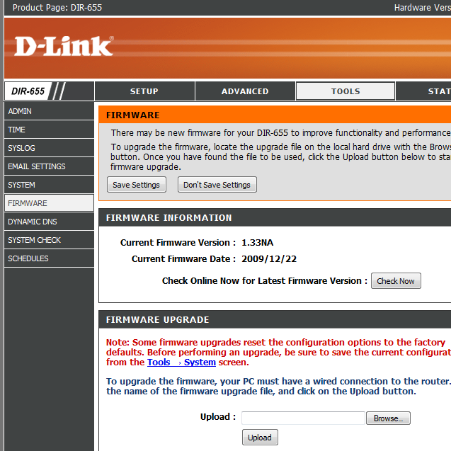 Downgrade D-Link DIR-655 1.3x Firmware