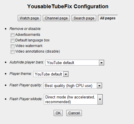YousableTubeFix Configuration Window